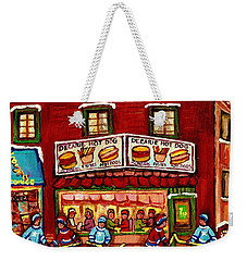 Decarie Hot Dog Restaurant Cosmix Comic Store Montreal Paintings Hockey Art Winter Scenes C Spandau Weekender Tote Bag
