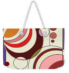 Weekender Tote Bag featuring the digital art Deco Circles by Mary Bedy