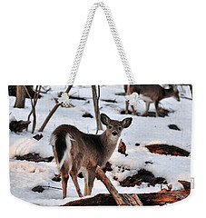 Deer And Snow Weekender Tote Bag