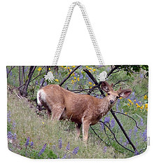Weekender Tote Bag featuring the photograph Deer In Wildflowers by Athena Mckinzie