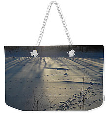 Deer Tracks On The River Weekender Tote Bag by Kent Lorentzen