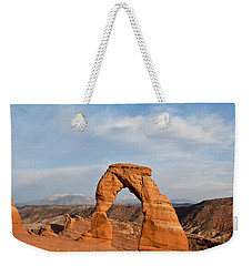 Weekender Tote Bag featuring the photograph Delicate Arch At Sunset by Jeff Goulden