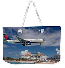 Delta Air Lines Landing At St. Maarten Weekender Tote Bag
