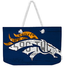 Denver Broncos Football Team Retro Logo Colorado License Plate Art Weekender Tote Bag by Design Turnpike