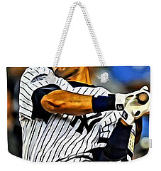 Derek Jeter In Action Weekender Tote Bag by Florian Rodarte