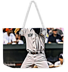 Derek Jeter Painting Weekender Tote Bag by Florian Rodarte