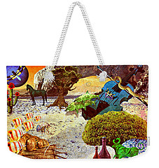 Weekender Tote Bag featuring the mixed media Desert Blues by Ally  White