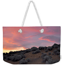 Weekender Tote Bag featuring the photograph Desert Sunset by AJ  Schibig