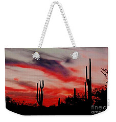Desert Sunset Northern Lights Version 3 Weekender Tote Bag by Joseph Baril
