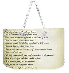 Desiderata 2 Weekender Tote Bag by Teresa Zieba