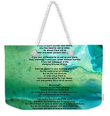 Desiderata 2 - Words Of Wisdom Weekender Tote Bag by Sharon Cummings