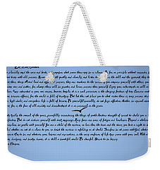 Desiderata Weekender Tote Bag by Bill Cannon
