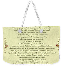 Desiderata Gold Bond Scrolled Weekender Tote Bag by Movie Poster Prints