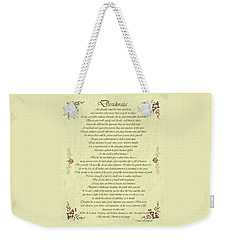 Desiderata Gold Bond Scrolled Weekender Tote Bag