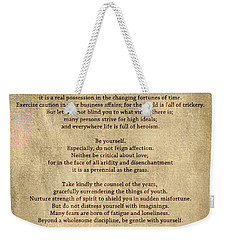 Desiderata - Scrubbed Metal Weekender Tote Bag
