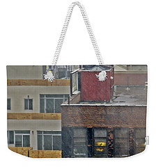 Weekender Tote Bag featuring the photograph Desk Lamp Through Lit Window by Lilliana Mendez