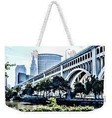 Weekender Tote Bag featuring the photograph Detroit-superior Bridge - Cleveland Ohio - 1 by Mark Madere