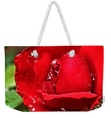 Dew Drops On Red Weekender Tote Bag