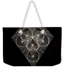Weekender Tote Bag featuring the drawing Diamond White And Black by Jason Padgett