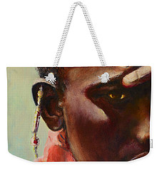 Weekender Tote Bag featuring the painting Dignity by Sher Nasser