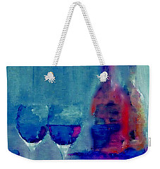 Weekender Tote Bag featuring the painting Dine With Wine by Lisa Kaiser