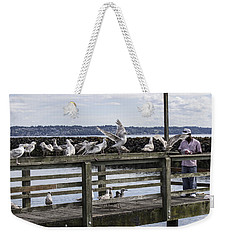 Dinner At The Marina Weekender Tote Bag by Cathy Anderson