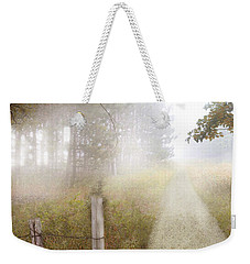 Dirt Road In Fog Weekender Tote Bag