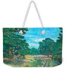 Weekender Tote Bag featuring the painting Dirt Road Near Rock Castle Gorge by Kendall Kessler