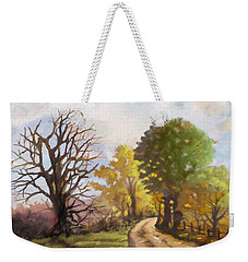 Weekender Tote Bag featuring the painting Dirt Road To Some Place by Anthony Mwangi