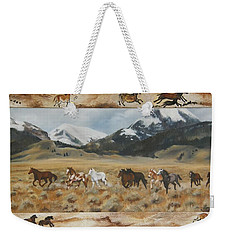 Weekender Tote Bag featuring the painting Discovery Horses Framed by Lori Brackett