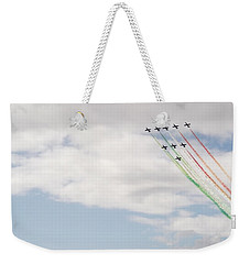 Weekender Tote Bag featuring the photograph Displaying The Flag by Tracey Williams