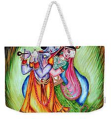 Weekender Tote Bag featuring the painting Divine Lovers by Harsh Malik