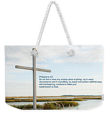 Belin Church Cross At Murrells Inlet With Bible Verse Weekender Tote Bag