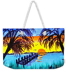 Weekender Tote Bag featuring the painting Dock At Sunset by Ecinja Art Works