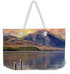 Weekender Tote Bag featuring the photograph Dock On Lake Mcdonald by Marty Koch