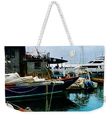 Weekender Tote Bag featuring the photograph Docked Boats In Newport Ri by Susan Savad