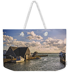 Docked Boats Woods Hole Cape Cod Ma  Weekender Tote Bag by Marianne Campolongo