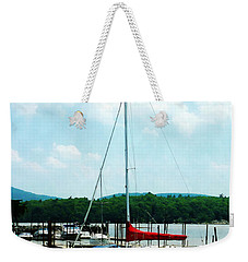 Weekender Tote Bag featuring the photograph Docked On The Hudson River by Susan Savad