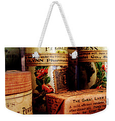 Weekender Tote Bag featuring the photograph Doctor - Liver Pills In General Store by Susan Savad