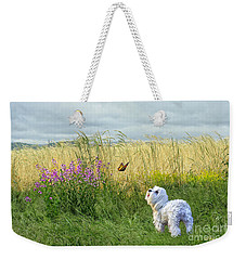 Dog And Butterfly Weekender Tote Bag by Andrea Auletta