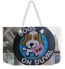 Dogs On Duval Weekender Tote Bag by Fiona Kennard