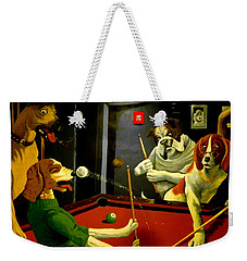 Dogs Playing Pool Wall Art Unknown Painter Weekender Tote Bag by Kathy Barney