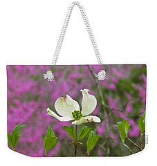 Dogwood Bloom Against A Redbud Weekender Tote Bag