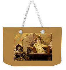 Antique Doll In Chair With Parasol Weekender Tote Bag