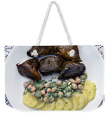 Dolmathes And Garbanzo Salad With Sliced Cucumbers Weekender Tote Bag