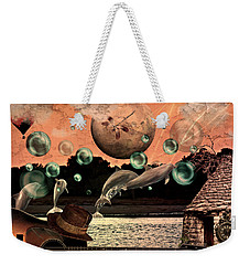Weekender Tote Bag featuring the mixed media Dolphin Dreams by Ally  White