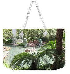 Weekender Tote Bag featuring the photograph Dolphin Pond And Garden Green by Navin Joshi