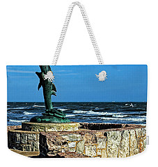 Dolphin Statue Weekender Tote Bag by Judy Vincent