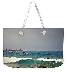 Dolphins Swimming With The Surfers At Asilomar State Beach  Weekender Tote Bag