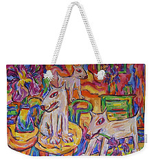 Weekender Tote Bag featuring the painting Domesticated Wolves In Dutch Iris Room by Dianne  Connolly